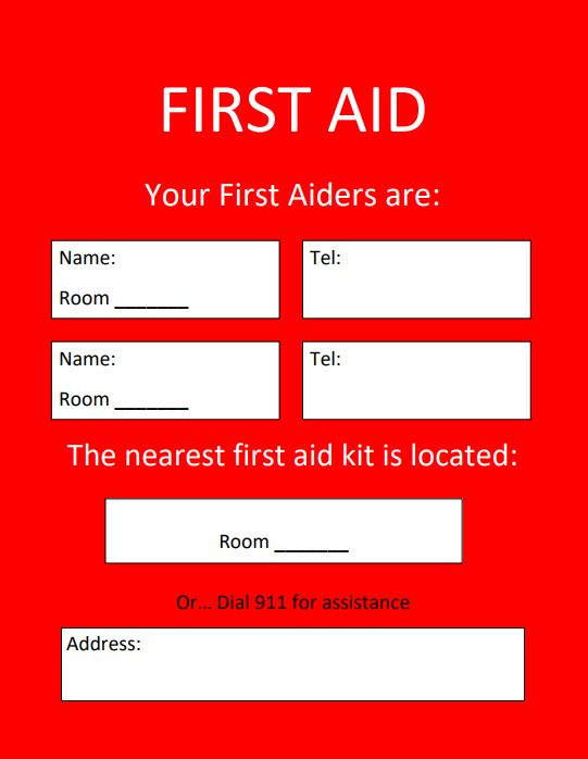 First Aid Location Template Health Amp Safety